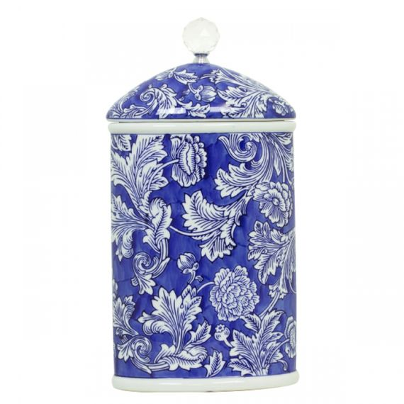 144014 Pote de Porcelana Com Tampa Cilíndrico