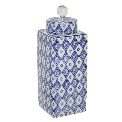 144002 Pote de Porcelana Com Tampa e Puxador de Cristal