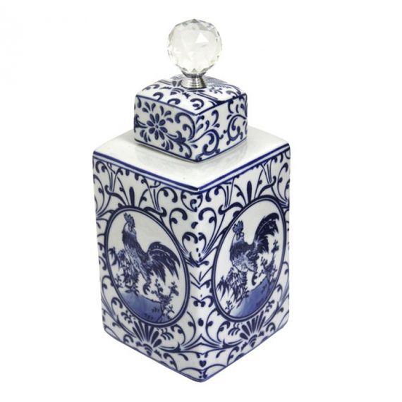 144007 Pote de Porcelana Com Tampa e Puxador de Cristal
