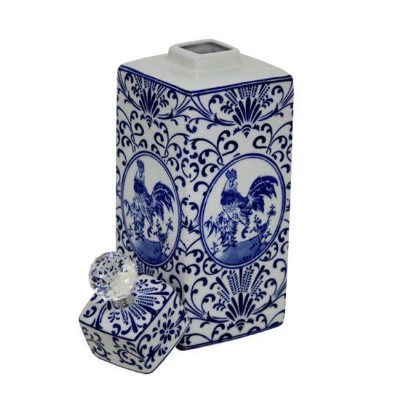 144008 Pote de Porcelana Com Tampa e Puxador de Cristal
