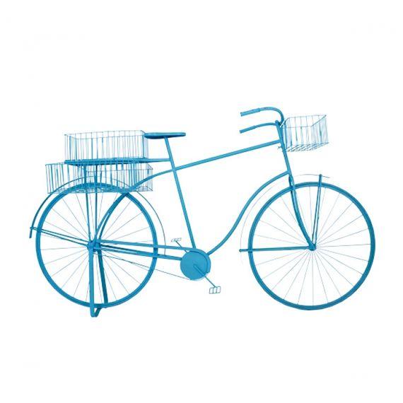 81080 Bicicleta Azul Decorativa em Metal