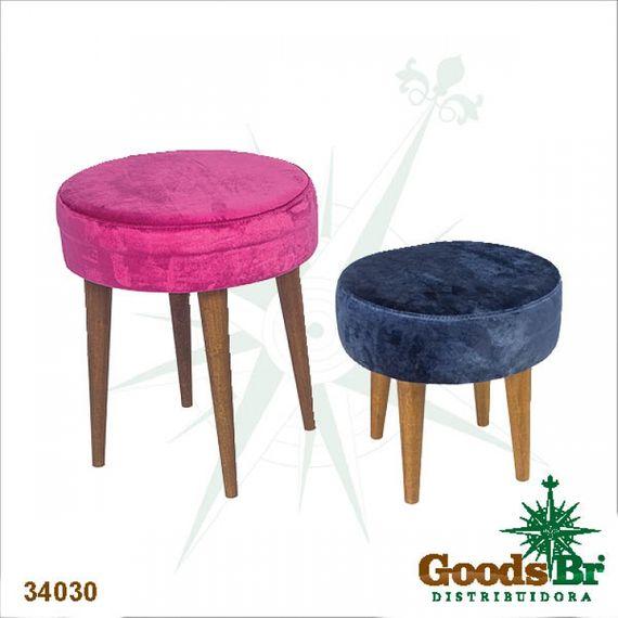 34030 Banqueta Redonda - Rosa e Azul Clássica