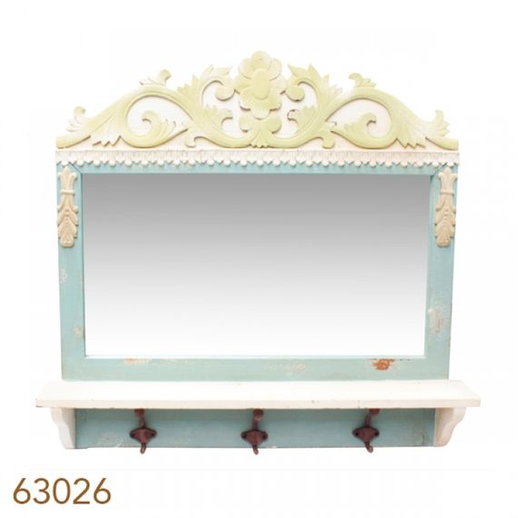 63026 Espelho Com Aparador 3 Ganchos