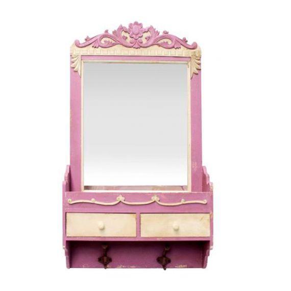 63027 Espelho Com Aparador 2 Gavetas - 2 Ganchos