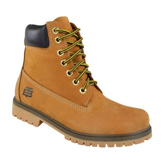 Bota Coturno Couro Beeton Masculina Yellow Boot Strong 407 Solado de Borracha
