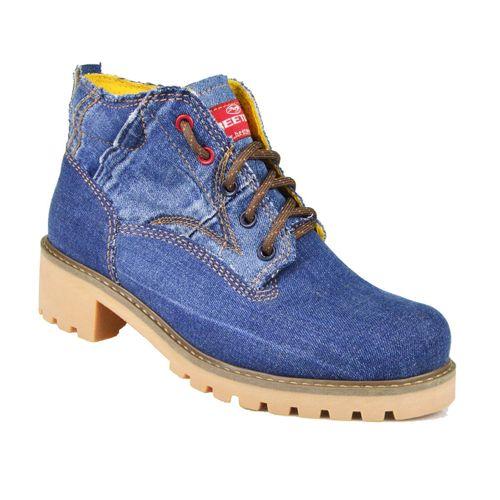 Bota Coturno Jeans Feminina Beeton Ranee 001 Solado de Borracha