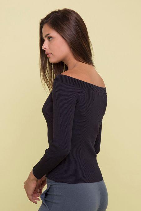 Blusa Tricô Ombro a Ombro Canelada | Bi356