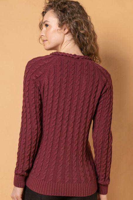 Blusão Tricô Tranças Gola V | Bi398