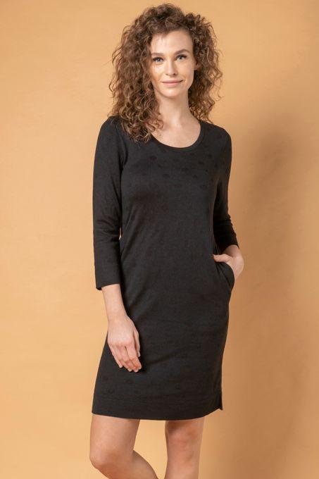 Vestido Tricô Poá com Bolso   Vi025