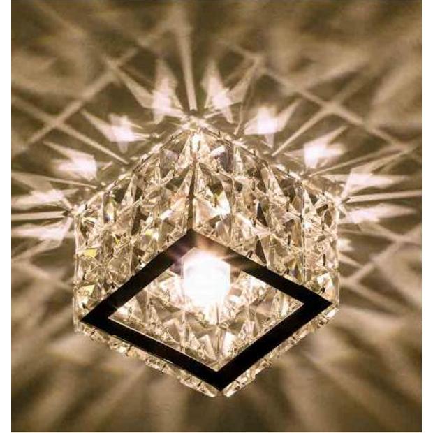 Luminária Plafon Semi-Embutido com Cristal