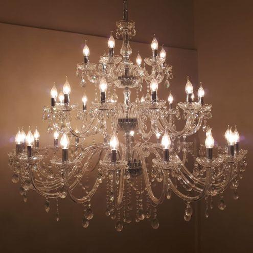 Lustre Grande de Cristal 36 Braços Transparente