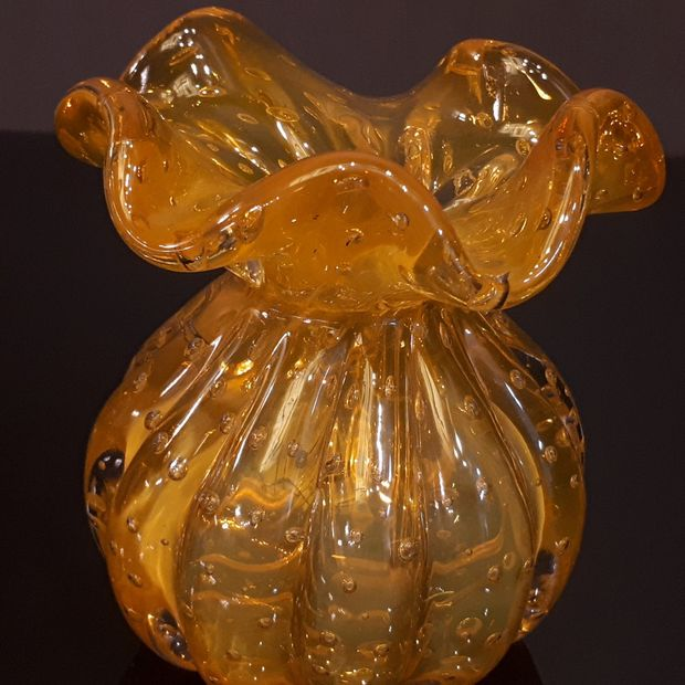 Mini Vaso Decorativo em Murano Amarelo