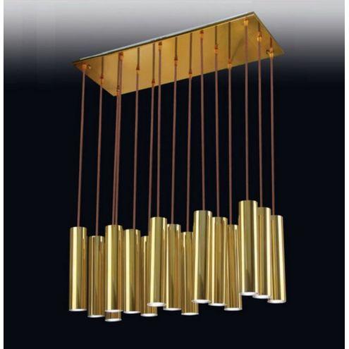 Pendente Old Artisan 15 Tubo Liso Contemporâneo Metal Dourado 140cm x 30cm x 15cm