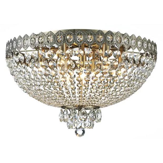 Plafon Queen Ouro Velho com Cristais Transparentes 9 Lâmpadas