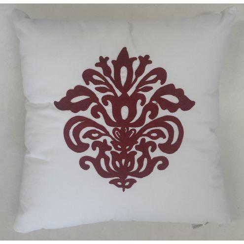 Almofada Veludo Branco c/ Bordado Vermelho