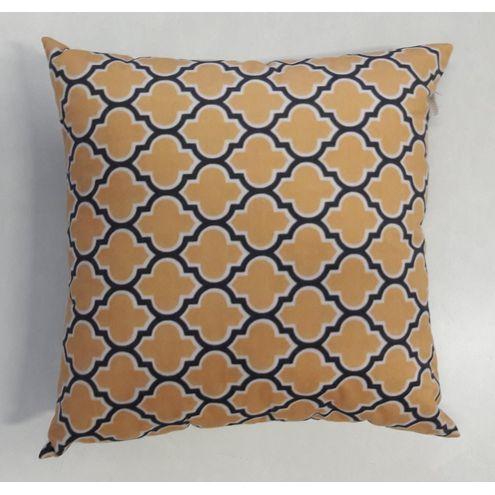 Almofada Veludo Estampado Amarelo, Azul Marinho e Branco