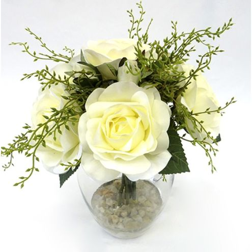 Arranjo de Buquê de Rosas 23x29cm Branco