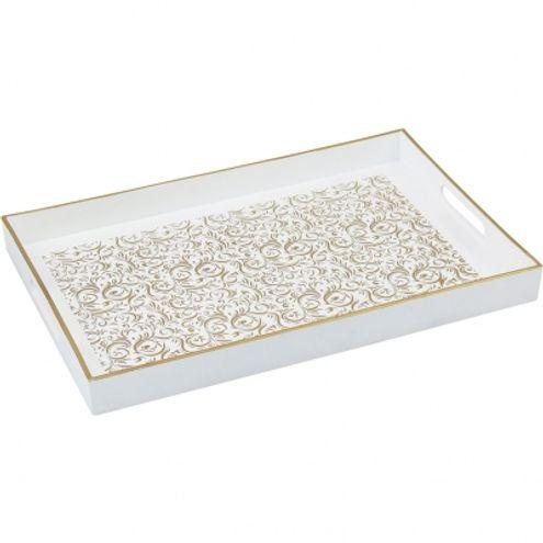 Bandeja Decorativa Retangular Branco/Dourado 46x30 cm