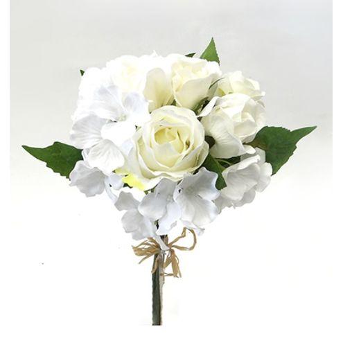 Buquê De Rosas E Hortência Branco 38cm