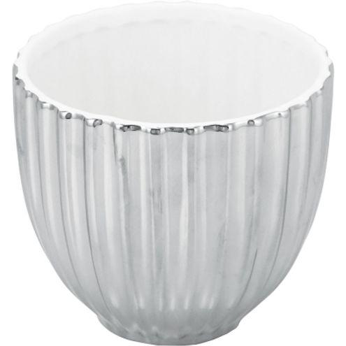 Cachepo Cerâmica Prata/branco