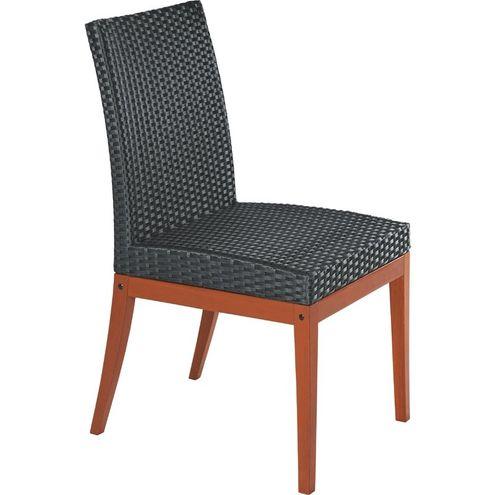 Cadeira de Fibra Preta e Madeira Jatoba