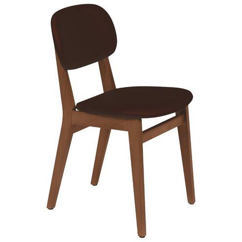 Cadeira em Madeira Amêndoa com Estofado Café London Tramonti