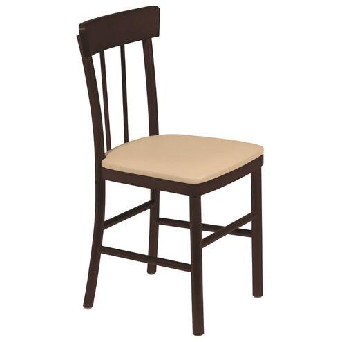 Cadeira Viena sem Braços Tabaco com Estofado Bege Danúbio tr
