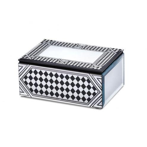 Caixa Xadrez Espelhada Preta 18X12X6,5cm