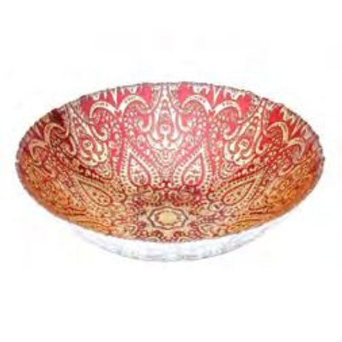 Centro de Mesa de Vidro Istambul Designe Red 33X33X9cm