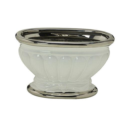 Centro de Mesa Decorativo Ceramica com Prata 14,5x23,5x12,5cm