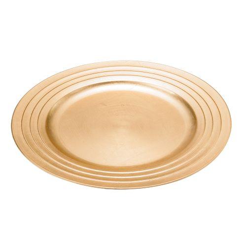 Conjunto 6 Sousplat de Plastico Dourado 33cm