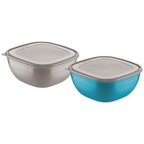 Conjunto de Potes Cinza/azul 4,0 Litros 2 Peças Mixcolor Tra