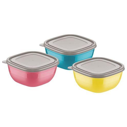 Conjunto de Potes Coloridos com Tampas Cinzas 0,6 Litros 3 p