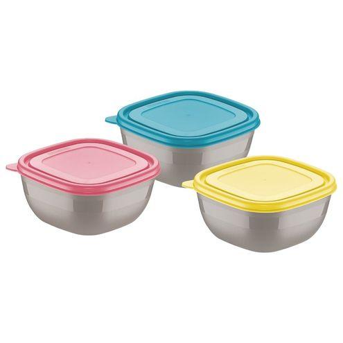 Conjunto de Potes com Tampas Coloridas 0,6 Litros 3 Peças mi