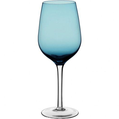 Taça Vinho Vidro Azul c/ pé Incolor 430Ml