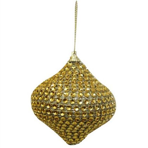 Bola Peão Natalina Dourado 8cm