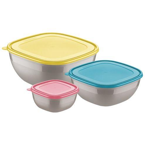 Jogo de Potes Cinzas com Tampas Coloridas 3 Peças Mixcolor t