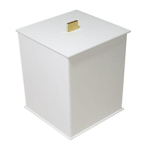 Lixeira Elegance Branca Gold - 30 cm x 19 cm x 24 cm Decor Acrílicos