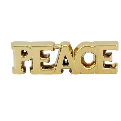Peace em Cerâmica Dourado 27 x 9 cm