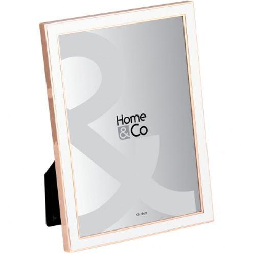 Porta Retrato 18 cm Branco/cobre
