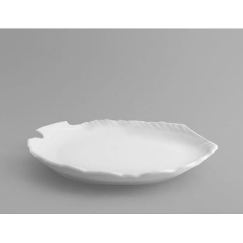 Prato Raso Formato de Peixe Branco