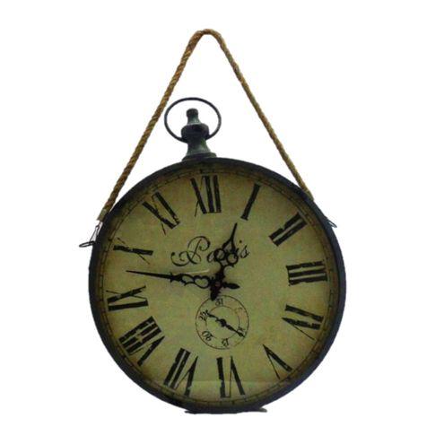 Relógio Metálico de Parede c/ Corda Preto 36 x 5 x 65 cm