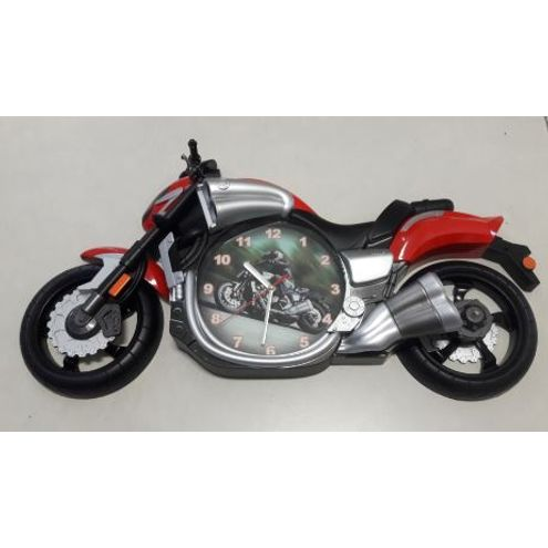 Relogio Plastico 57X32X11Cm Moto Vermelha