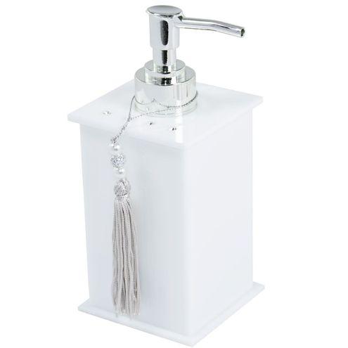 Saboneteira Liquida Elegance Cristal Branca ABS Decor Acrílicos