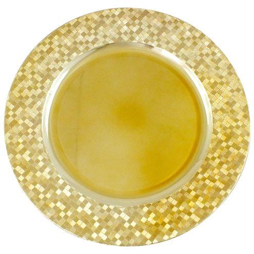 Sousplat Nakine Red Dourado com Detalhes Dourados 33 cm