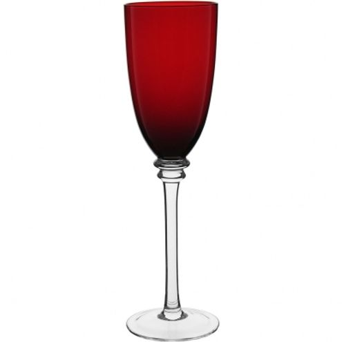 Conjunto Taça Champagne Vidro 300 ml Vermelho c/ pé Incolor