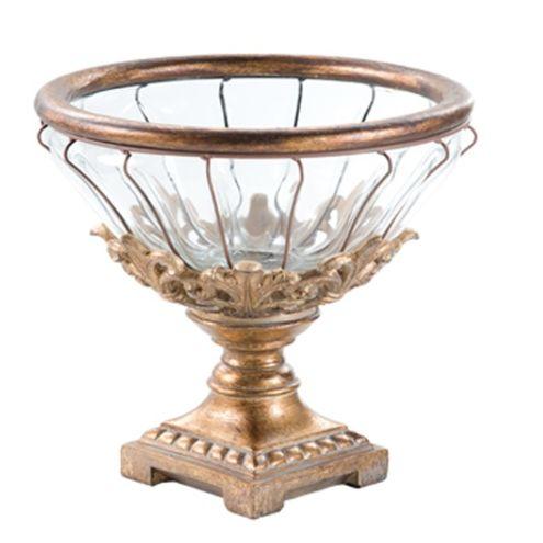 Taça Decorativa de Vidro e Resina Ø26,4cmx25,6cm Dourada