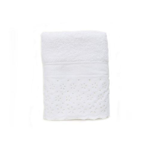 Toalha De Rosto c/ Aplicação Crystal Cor Branco