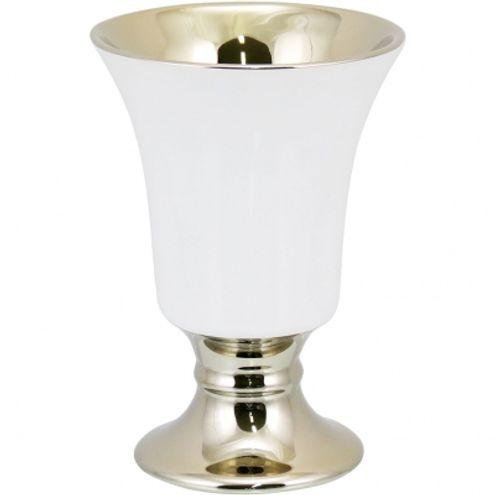 Vaso 14 cm Branco/Dourado