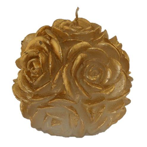 Vela Bola de Rosas Grande Dourado